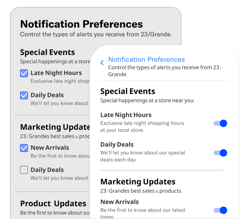 App and web preference centers