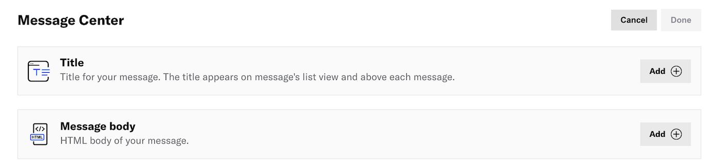 Message Center content