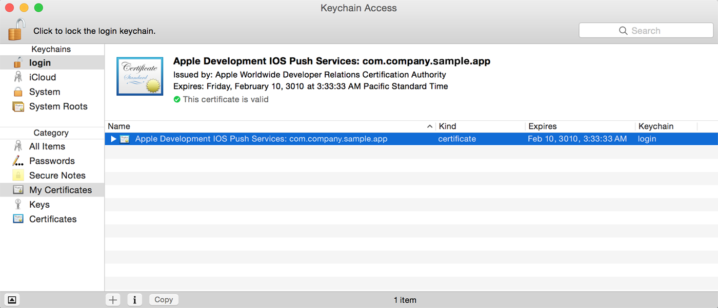 iOS Push Certificate Authentication