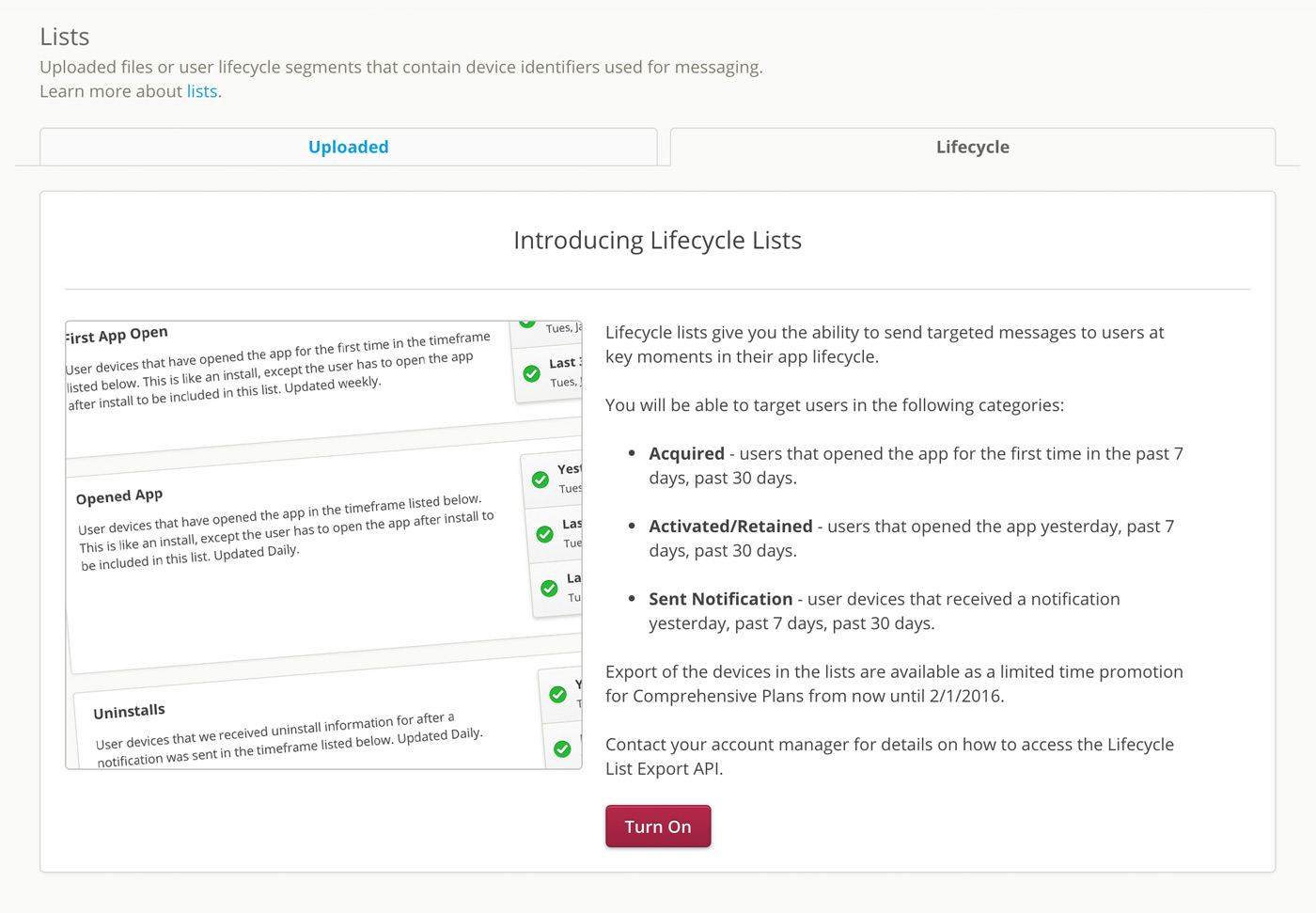 Engage: Lifecycle Lists