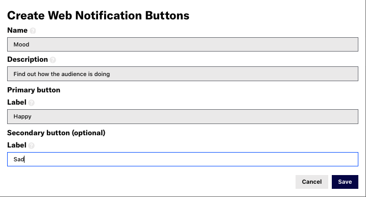 Custom Web Notification Buttons